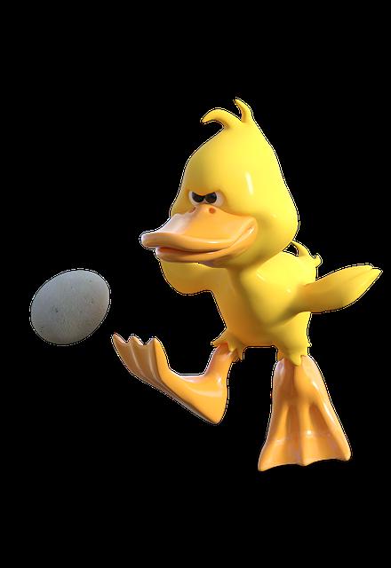 Egg, Duck, Easter, Shoot, Shot, Football, Cartoon