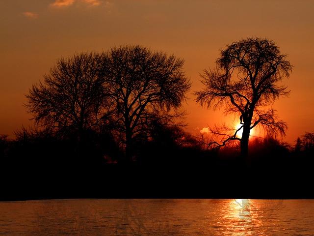 Sunset, Romantic, Romamtik, Evening, River, Düsseldorf