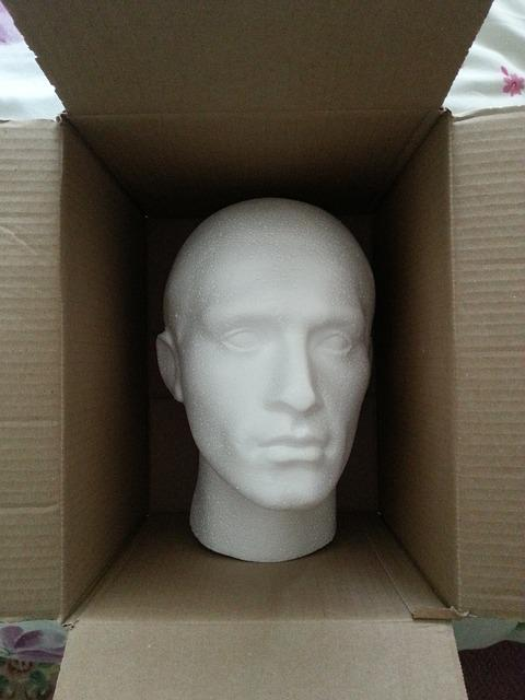Head, Dummy, Polystyrene, Model, Mannequin, Face, Box
