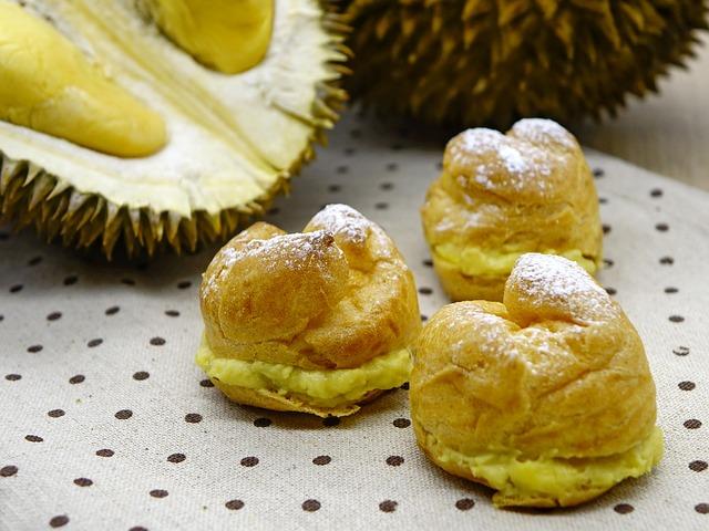 Durian Puff, Pastry, Bakery, Cream, Dessert, Durian