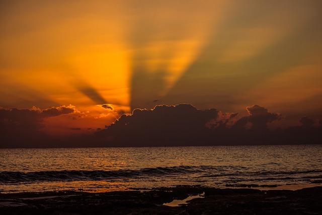Sunset, Dusk, Beach, Sea, Sky, Clouds, Sunlight