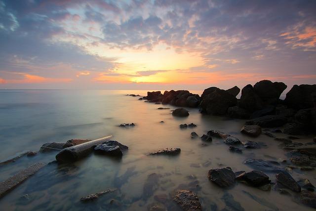 Beach, Coast, Dawn, Depth Of Field, Dusk, Horizon