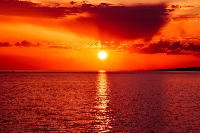 Sunset, Sun, Sea, Sky, Clouds, Colors, Evening, Dusk