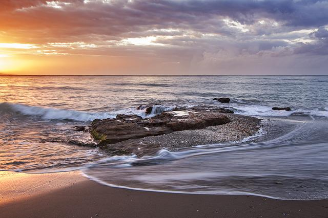 Beach, Cloudy, Coast, Dawn, Dusk, Horizon, Motion Blur