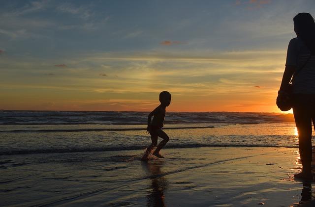 Silhouette, Beach, Dusk, Sunset, Sea, People, Kid, Boy