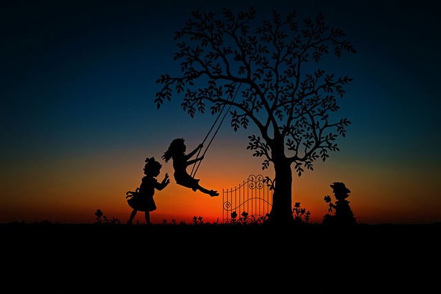 Children, Play, Rock, Swing, Leisure, Dusk, Sunset