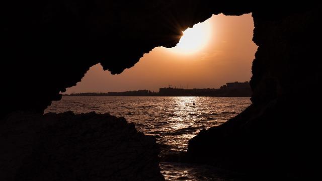 Sea Cave, Sunset, Sun, Dusk, Evening, Sunlight, Scenery