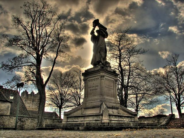 Statue, Urban, Sky, Clouds, Evening, Dusk, Sunset, Hdr