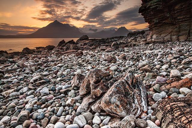 Coast, Pebbles, Lake, Sunset, Dusk, Twilight, Evening