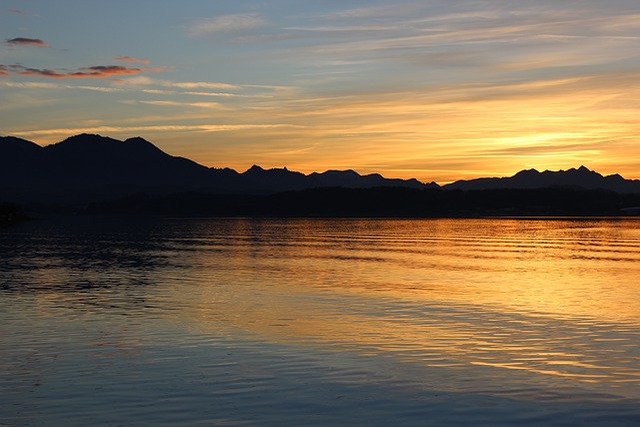 Bergsee, Sunset, Nature, Sky, Dusk, Mirroring, Rest