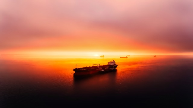 Sunset, Dusk, Panorama, Beautiful, Ship, Sea, Ocean