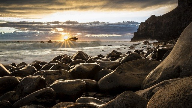 Rocks, Beach, Sea, Ocean, Sun, Sunset, Dusk, Twilight