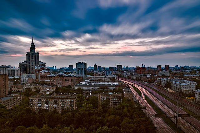 Moscow, Russia, Sunset, Dusk, Sky, Clouds, City, Urban