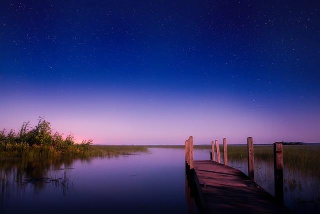 Michigan, Lake, Water, Sunset, Dusk, Stars, Starry