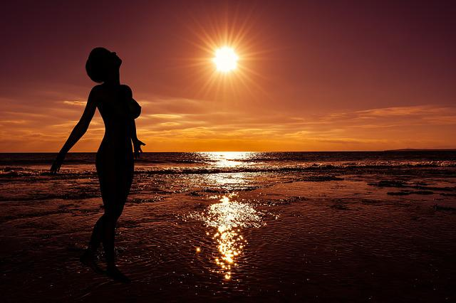 Sunset, Sun, Dusk, Sea, Reflections, Woman, Silhouette