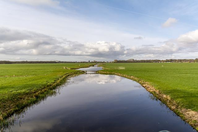 Dutch Landscape, River, Meadows, Clouds, Polder