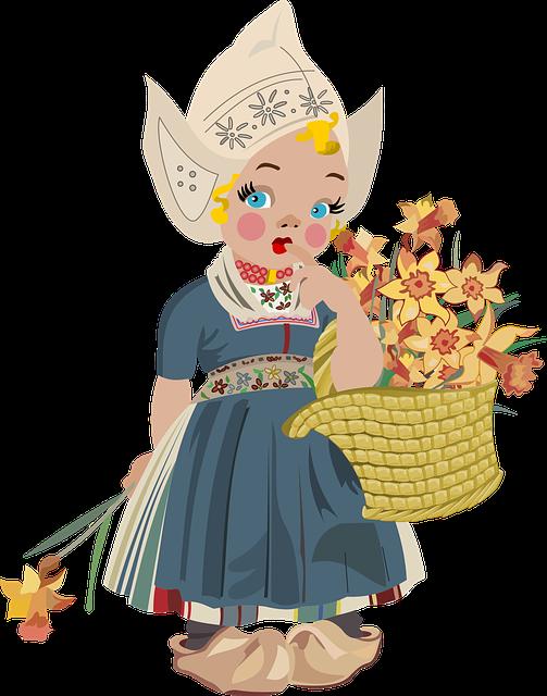 Basket, Girl, Dutch, Holland, Pretty, White Hat, Clog
