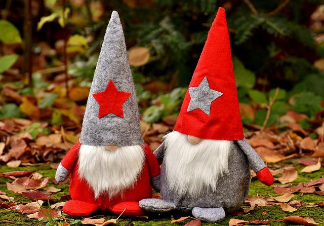 Imp, Pair, Figures, Christmas, Funny, Dwarf, Cute, Deco