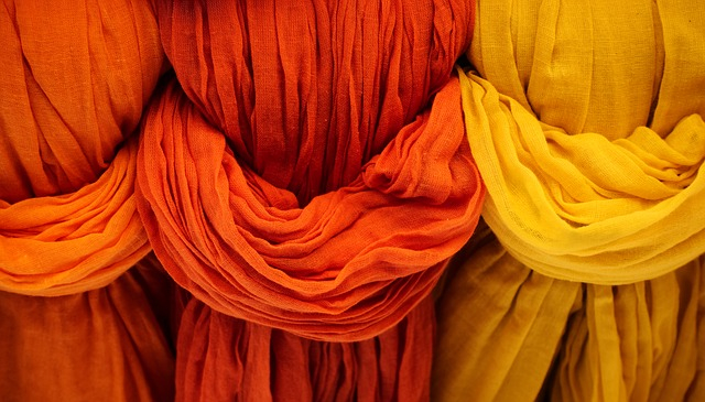 Cloth, Fabric, Red, Orange, Yellow, Vibrant, Weave, Dye
