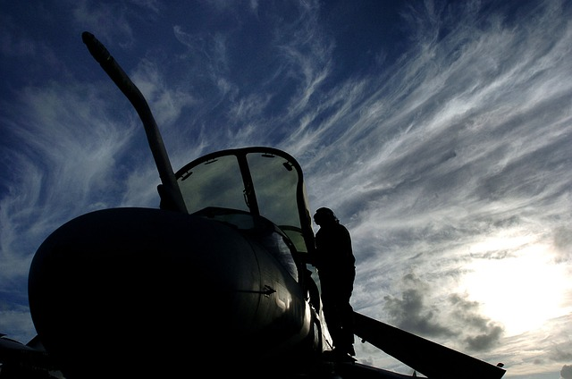 Sky, Clouds, Sunset, Ea-6b, Military, Man, Silhouette