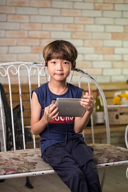 Korean, Child, Device, Tablet, Headphones, Earbuds