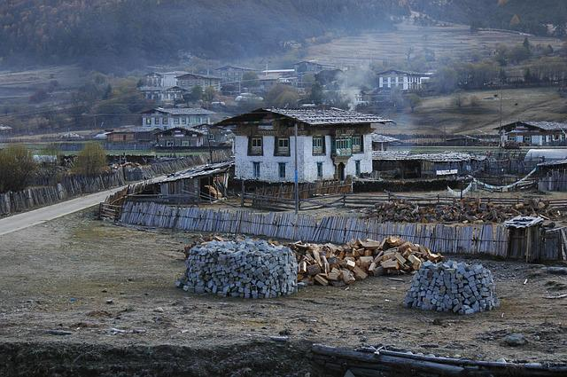 Tibet, Houses, Village, Early In The Morning