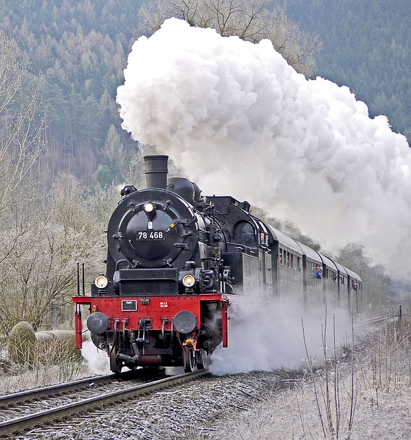 Steam Locomotive, Passenger Train, Early Train
