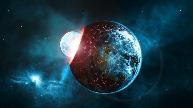 Planet, Earth, Moon, Impact, Universe, Globe, Space
