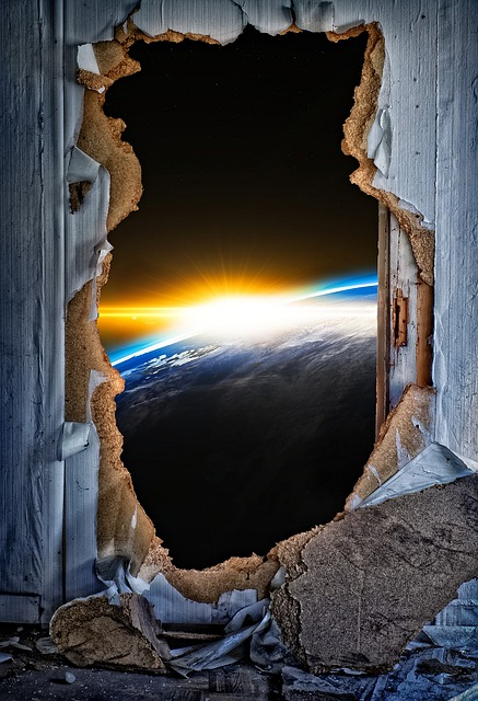 Door, Breakthrough, Door Sunburst, Earth, Sun, Surreal