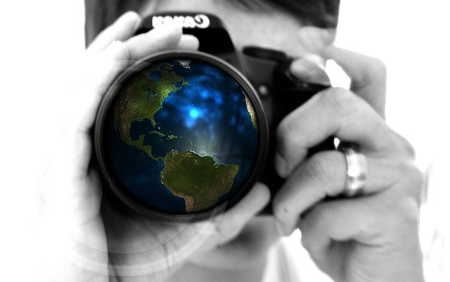 Woman, Camera, Hand, Lens, Earth, Globe, America, Usa