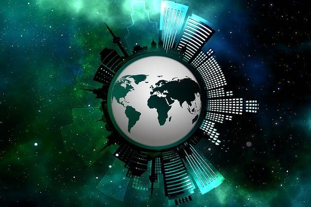 Skyscrapers, Globe, Earth, World, Road, Urbanization