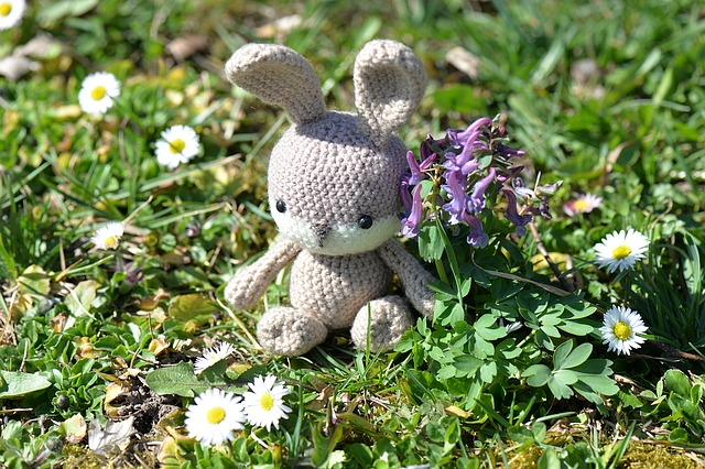 Easter Bunny, Crochet, Fabric, Fig, Flowers, Meadow