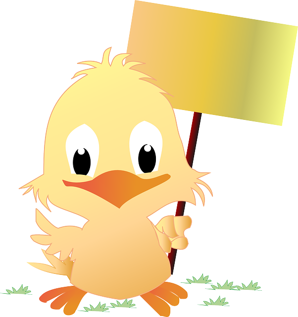 Chick, Easter, Sign, Happy, Cute, Yellow