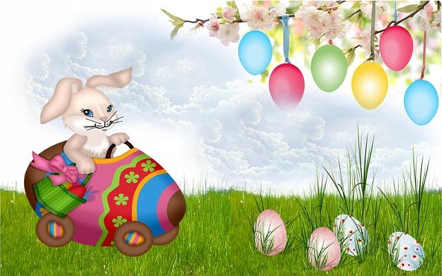 Easter, Rabbit, Easter Egg, Lawn