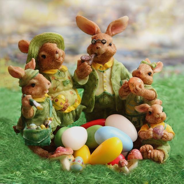 Easter, Easter Bunny Family, Decoration, Easter Eggs