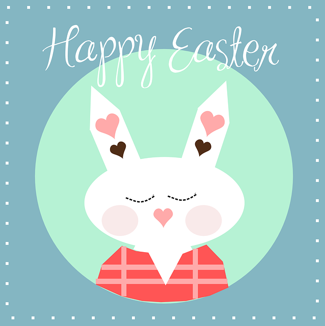 Happy, Easter, Bunny, Hearts, Sticker, Rabbit