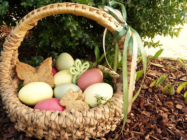 Easter Nest, Easter Eggs, Colored, Basket, Garden