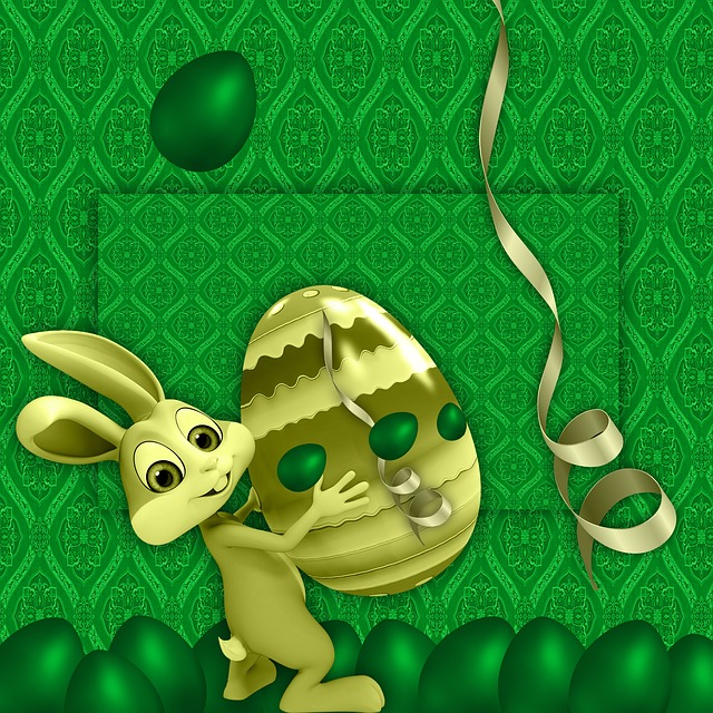 Easter, Green Background, Eggs Easter, Texture, Rabbit