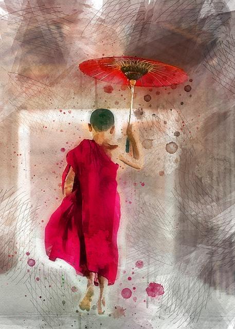 Monk, Boy, Male, Human, Umbrella, Eat, Asia, Faith