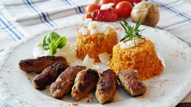 Cevapcici, Meat, Minced Meat, Djuvec, Zaziki, Eat, Rice