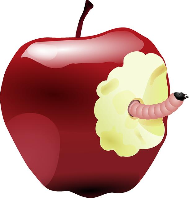 Apple, Worm, Bitten, Fruit, Rotten, Eaten, Food, Maggot