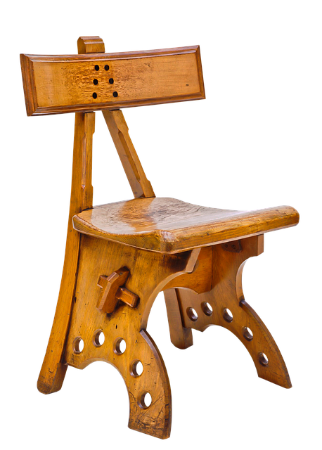 Chair, Oak, Ebony Inlay, Woodwork, Antique, Furniture