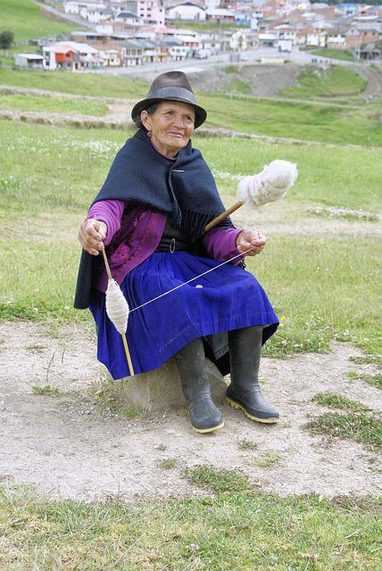 Old, Woman, Spinner, Andes, Ecuador