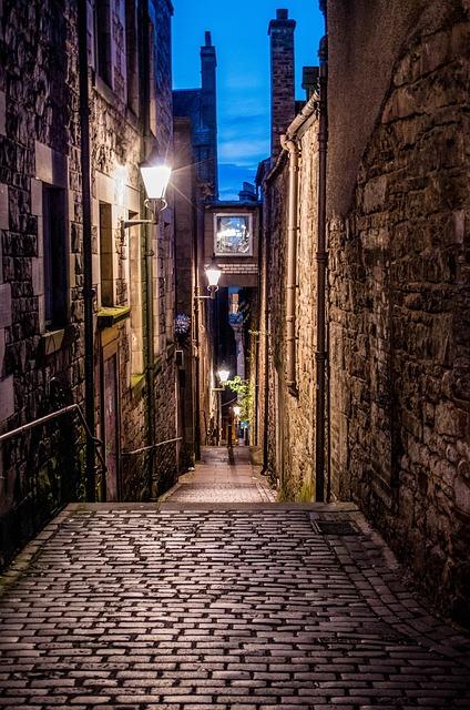 Edinburgh, Alley, Cobblestones, Historic Center