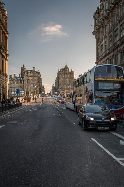 Edinburgh, Bus, Car, Street, Sightseeing, Scotland