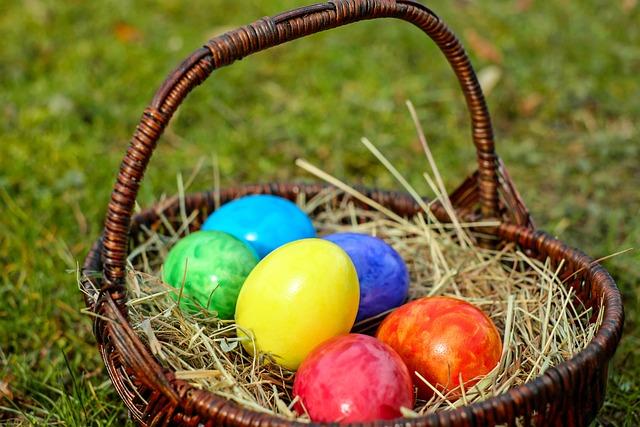 Easter Eggs, Basket, Egg, Color, Colored, Customs