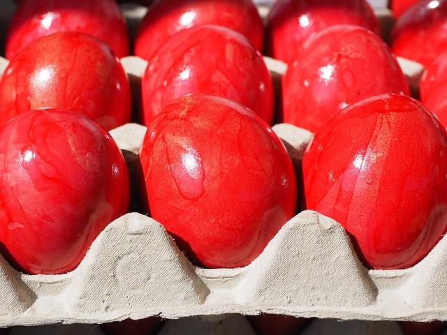 Easter Eggs, Egg, Red, Egg Box, Hartgekocht, Hard