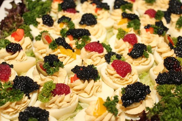Caviar, Egg, Buffet, Raspberries, Cold Buffet, Salad
