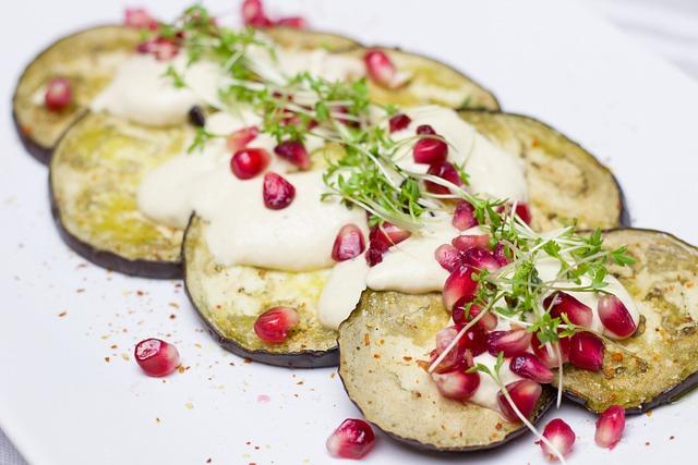 Melanzana, Eggplant, Pomegranate, Hummus, Salad