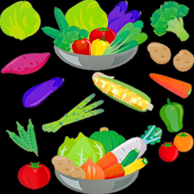 Vegetables, Salad, Broccoli, Corn, Potatoes, Eggplant